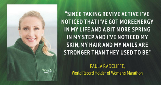 Women`s Marathon World Record Holder, Paula Radcliffe uses Revive Active products daily