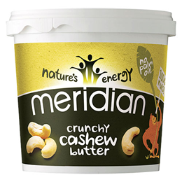 Meridian Crunchy Cashew Butter - 1kg - Best before date is 31st March 2018