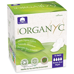 Organyc Sanitary Pads Folded Wings - Heavy Flow Night - 10 Pads