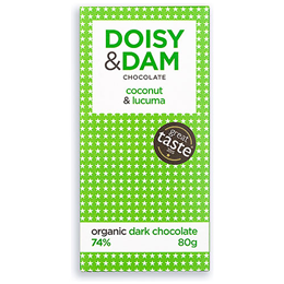 Doisy & Dam 74% Organic Dark Chocolate, Coconut & Lucuma - 80g Bar