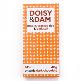 Doisy & Dam 74% Organic Dark Chocolate, Maple, Toasted Rice & Pink Salt - 80g Bar