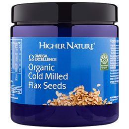 Higher Nature Omega Excellence Organic Cold Milled Flax Seeds - 250g - Best before date is 31st December 2017