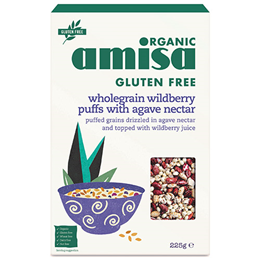 Amisa Organic Wild Berry Puff Mix with Agave Nectar - 225g