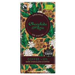 Chocolate and Love Organic 55% Dark Chocolate, Coffee - 80g Bar