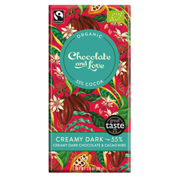 Chocolate and Love Organic 55% Dark Chocolate, Creamy - 80g Bar