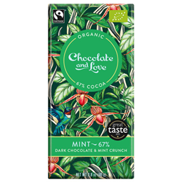 Chocolate and Love Organic 67% Dark Chocolate, Mint - 80g Bar