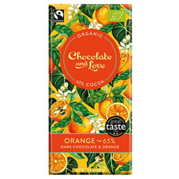 Chocolate and Love Organic 65% Dark Chocolate, Orange - 80g Bar