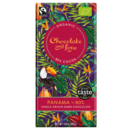 Chocolate and Love Organic 80% Dark Chocolate, Panama - 80g Bar