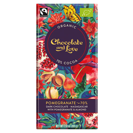 Chocolate and Love Organic 70% Dark Chocolate, Pomegranate - 80g Bar