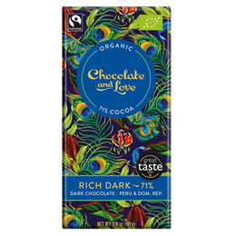 Chocolate and Love Organic 71% Dark Chocolate, Rich  - 80g Bar