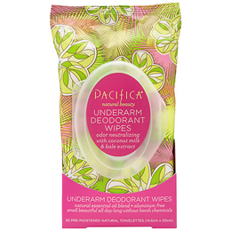 Pacifica Deodorant Wipes Coconut and Kale Extract - 30 Wipes