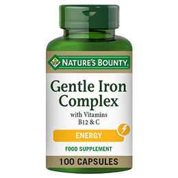 Nature`s Bounty Gentle Iron Complex with Vitamins B12 & C - 100 Caps