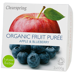 Clearspring Organic Fruit Purée - Apple/Blueberry - 2 x 100g