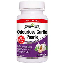 Natures Aid Odourless Garlic Pearls - 120 Softgels - 33% Extra Free