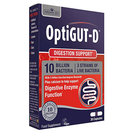 Natures Aid OptiGUT-D - Digestion Support - 30 Capsules
