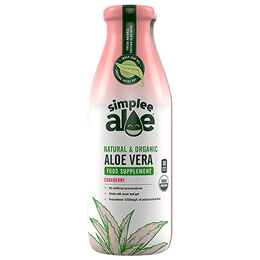 Simplee Aloe Organic Aloe Vera Juice Cranberry - 500ml - Best before date is 5th May 2019