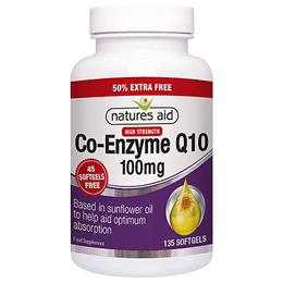Natures Aid CO-Q-10 (Co Enzyme Q10) 50% EXTRA FREE - 90+45x 100mg Softgels