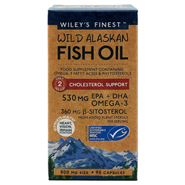 Wiley`s Finest Wild Alaskan Fish Oil - Cholesterol Support - 90 Capsules