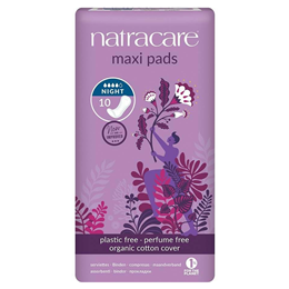 Natracare Organic Maxi Pads - Night Time - 10 Pack