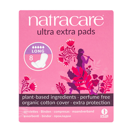 Natracare Organic Ultra Extra Pads with Wings - Long - 8 Pack