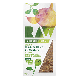 Raw Health Organic Flax & Herb Raw Crackers - 90g