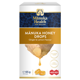 Manuka Health MGO 400+ Manuka Honey Lozenges Ginger & Lemon - 15 Pack
