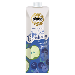 Biona Organic Apple & Blueberry Juice - Pressed - Carton - 1 Litre