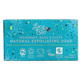 Lucy Bee Organic Spearmint, Basil & Clove Natural Exfoliating Soap - 150g