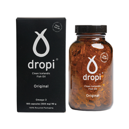 Dropi Pure Icelandic Extra Virgin Cod Liver Oil - 180 x 500mg Caps