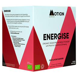 Motion Nutrition Energise: Goji & Acai Pre-Workout Powder - 12 x 15g - Best before date is 31st January 2021