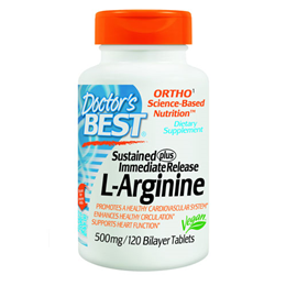 Doctors Best Sustained plus Immediate Release L-Arginine - 120 Tablets