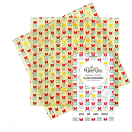 BeeBee Wraps - The Sandwich Pack Beeswax Wraps (Tulip design)