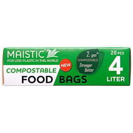 Maistic Compostable Food Bags - 4 Litre - 20 Bags