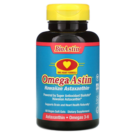 Nutrex OmegaAstin Omega and Astaxanthin - 60 x 4mg Vegi-Softgels