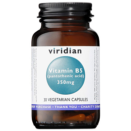 Viridian Vitamin B5 - Pantothenic Acid - 30 Vegicaps