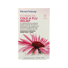 Higher Nature Echinacea Cold and Flu Relief - 30 x 176mg Soft Capsules