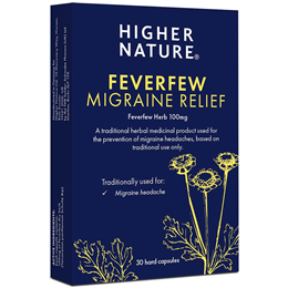 Higher Nature Feverfew Migraine Relief - 30 x 100mg Capsules