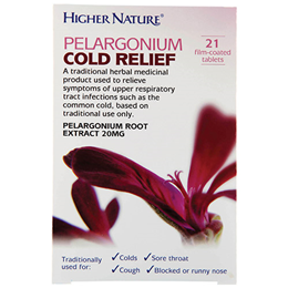 Higher Nature Pelargonium Cold Relief - 21 x 20mg Tablets