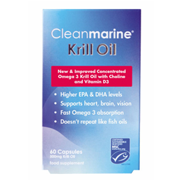 Cleanmarine Krill Oil - Ethically Fished Omega 3 - 60 x 500mg Capsules