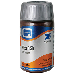 Quest Mega B 50 - Quick Release B Vitamins for Wellbeing - 30 Tablets