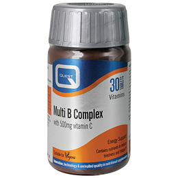Quest Multi B Complex - B Vitamins + 500mg Vitamin C - 30 Tablets