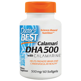 Doctors Best Calamari DHA 500 with Calamarine - 60 x 500mg Softgels