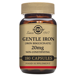 Solgar Gentle Iron - Iron Bisglycinate - 180 x 20mg Vegicaps