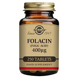Solgar Folacin 400mcg - Folic Acid - Pregnancy - 250 Vegan Tablets