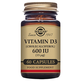 Solgar Vitamin D3(Cholecalciferol) 15mcg-60 x 600iu Vegetable Capsules