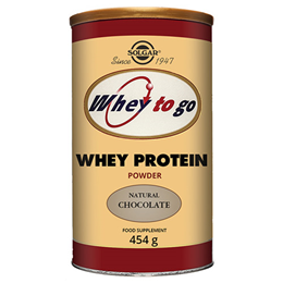 Solgar Whey To Go Protein - Natural Chocolate Flavour - 454g Powder - Best before date is 31st December 2019
