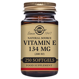 Solgar Vitamin E 134mg - D-Alpha Tocopherol - 250 x 200iu Softgels