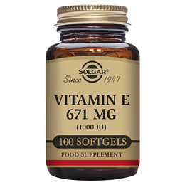 Solgar Vitamin E 671mg - D-Alpha Tocopherol - 100 x 1000iu Softgels