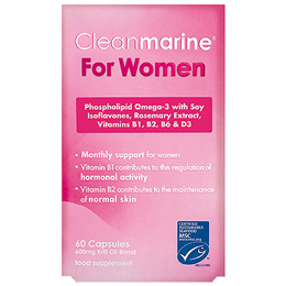 Cleanmarine Krill Oil for Women - Omega 3 - 60 x 600mg Capsules