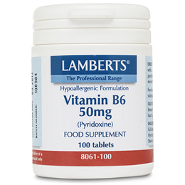 LAMBERTS Vitamin B6 (Pyridoxine) - 100 x 50mg Tablets